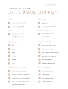 Lot Homesite Checklist