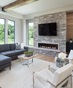 Create Home - Create Interior Design - Living Room with Linear Fireplace