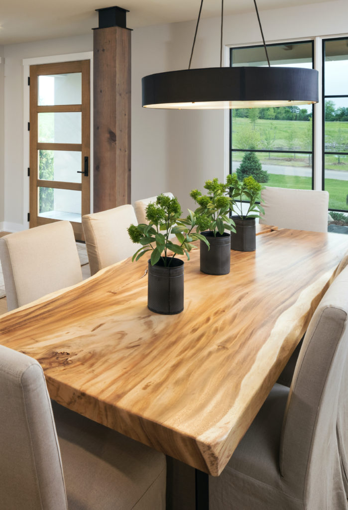 Create Home - Dining Room with live edge table and black light
